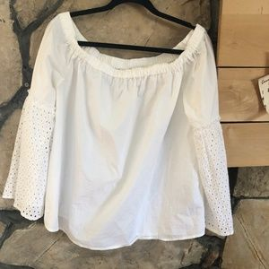 Who What Wear White Cotton Off the Shoulder Blouse